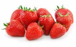 Reife Erdbeeren getrennt auf Weiß Lizenzfreie Stockfotos