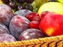 Reife Früchte auf einem Strohtopf. Stockfoto