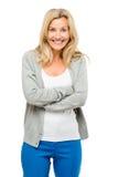 Reife Frau aufgeregt lokalisiert auf weißem Hintergrund Lizenzfreie Stockfotos