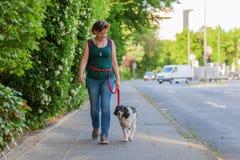 Reife Frau mit Bretagne-Hund auf einem Bürgersteig Lizenzfreie Stockfotos