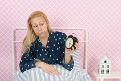 Reife Frau mit Schlaflosigkeit Lizenzfreies Stockfoto