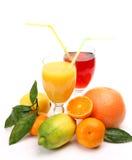 Reife Frucht und Saft Stockbild