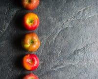 Reife Herbstäpfel rot und gelb auf einem schwarzen Steinhintergrund vom Schiefer Ernten Vitamine sind für Gesundheit gut stockfotografie