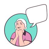 Reife kaukasische Frau, die an das Leben denkt bunter Vektor mit copyspace Stockfotos