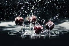 Reife Kirschen, die in Wasser fallen Stockfotografie