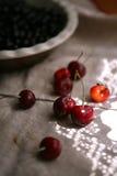 Reife Kirschen und schwarze Johannisbeere lizenzfreie stockfotografie