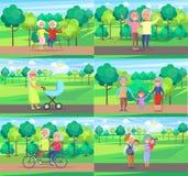 Reife Leute-zusammen Großeltern Sit Ride Walk stock abbildung