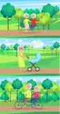 Reife Leute-zusammen Großeltern Sit Ride Walk vektor abbildung