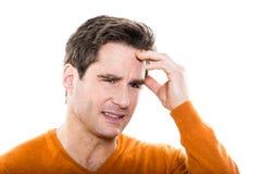 Reife Mannporträtkopfschmerzen Lizenzfreie Stockfotos