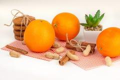 Reife Orangen, Erdnüsse, Hafermehlplätzchen und Aloe Stockbild