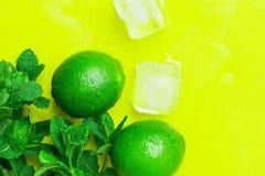 Reife organische Kalk-frische grüne Minze geschmolzene Eis-Würfel auf gelbem Hintergrund mit Wasser-Tropfen Mojito-Cocktailbestan Stockfoto