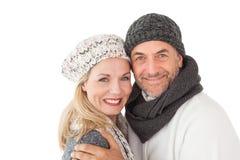 Reife Paare in der warmen Kleidung Stockfoto