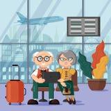 Reife Paare, die auf ihren Flug am Flughafen warten Au?erhalb des Fensters startet die Fl?che stock abbildung