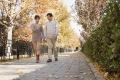 Reife Paare, die einen Weg im Park im Herbst sprechen lizenzfreies stockbild