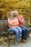 Reife Paare, die im Park sitzen Lizenzfreie Stockfotografie