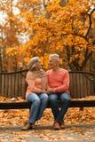 Reife Paare, die im Park sitzen Stockbilder