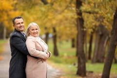 Reife Paare, die in Park gehen stockbilder