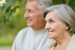 Reife Paare im Herbstpark Lizenzfreie Stockfotos