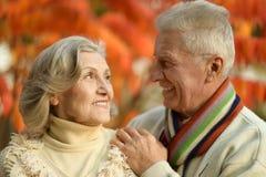 Reife Paare im Herbstpark Stockbilder