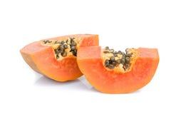 Reife Papaya getrennt auf Weiß Stockfotografie
