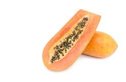 Reife Papaya getrennt auf Weiß Lizenzfreies Stockbild