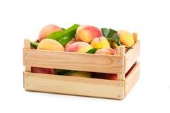 Reife Pfirsiche in einer Holzkiste lizenzfreies stockfoto