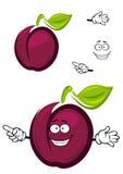 Reife purpurrote Karikaturpflaumenfrucht mit einem grünen Blatt Stockbild