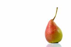 Reife rot-gelbe Birnenfrucht mit Wassertropfen Lizenzfreies Stockfoto