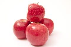 Reife rote Äpfel getrennt auf Weiß Lizenzfreies Stockbild