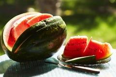 Reife Scheibe der Wassermelone Lizenzfreies Stockbild