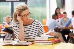 Reife Studentin Studying In Classroom mit Büchern Lizenzfreies Stockbild