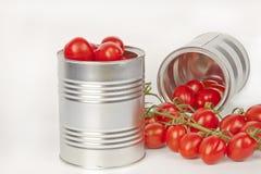 Reife Tomaten in den Blechdosen Stockbild