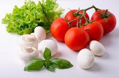 Reife Tomaten der weißen Champignons auf einer Niederlassung und Blättern von lettuc Stockbild