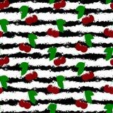 Reife und rote Kirsche Gestreifter, schwarzer weißer Hintergrund Nahtlose Beschaffenheit Lizenzfreie Stockfotos