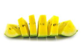 Reife und saftige Wassermelonescheibe Stockbild