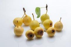Reife wilde Birne der Frucht auf einem lokalisierten weißen Hintergrund Stockfoto