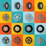 Reifen-Ikone flach Stockfotos