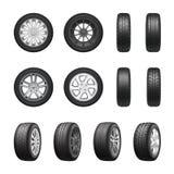 Reifen-Rad-realistischer Satz stock abbildung