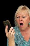Reifen Sie blonde Frau mit Handy (6) Lizenzfreies Stockfoto