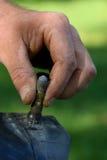 Reifen-Ventilschaft des Mannes Hand Stockfoto