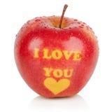 Reifer Apfel mit Stamm Lizenzfreies Stockfoto