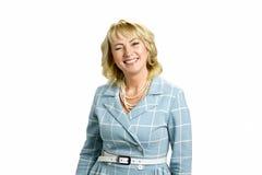 Reifer Dame Twinkling auf weißem Hintergrund stockbilder