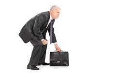 Reifer Geschäftsmann, der Koffer und Stellung in Sumo wrestli hält Lizenzfreie Stockfotos