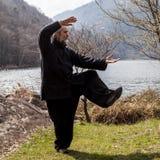 Reifer Mann, der draußen Tai Chi-Disziplin übt stockbilder