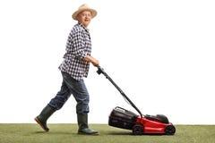 Reifer Mann, der einen Rasen mäht stockfotografie