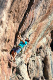 Reifer Mann, der Klettern-Training auf hohem überhängendem Felsen macht Stockbilder