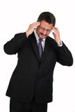 Reifer Mann mit schlimmen Kopfschmerzen Stockfotos