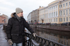 Reifer Mann n St Petersburg, Russland im Winter Stockfotografie