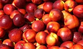 Reifer Nektarinenhintergrund für Verkauf am Gemüsemarkt im summe Lizenzfreies Stockfoto