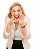 Reifes Geschäftsfrauschreien lokalisiert auf weißem Hintergrund Stockfotos